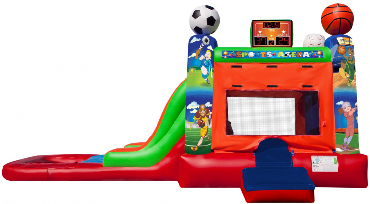 Sports Arena Bounce House with WaterSlide and Pool