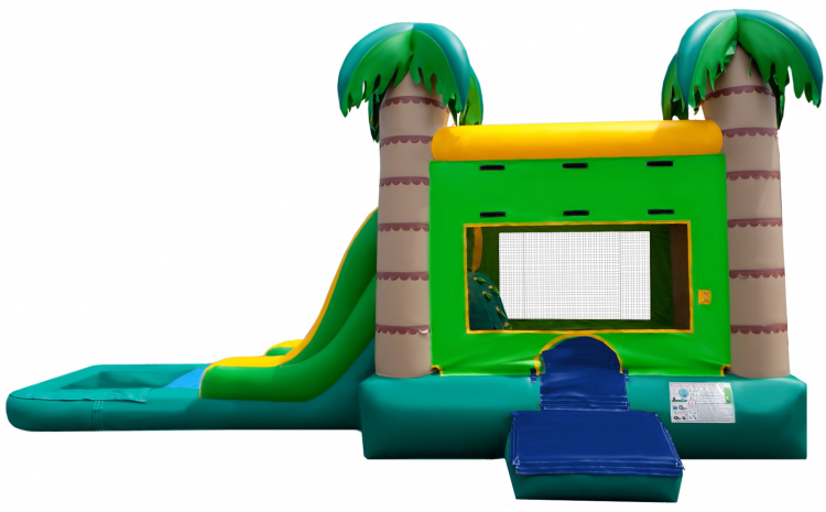 Tropical Bounce House with Waterslide and Pool